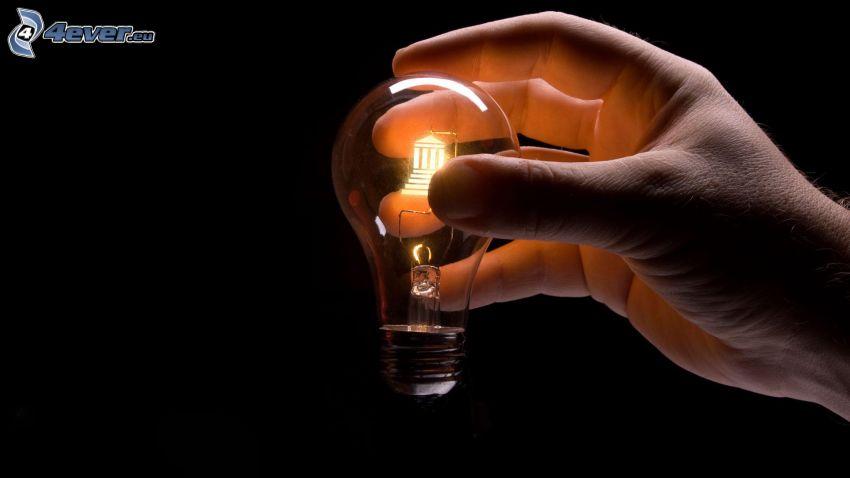 Glühlampe, Licht, Hand