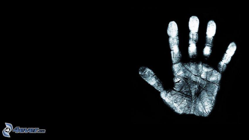 Handabdruck, schwarzem Hintergrund