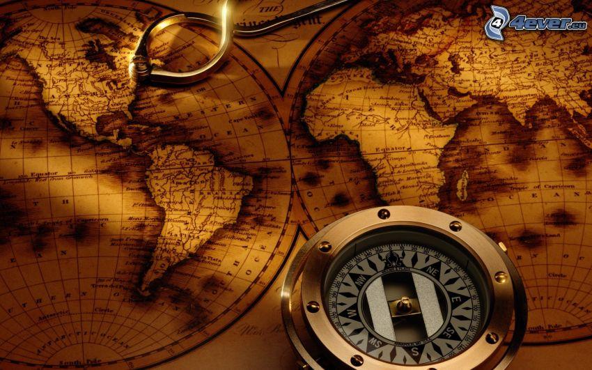 historische Landkarte, Kompass