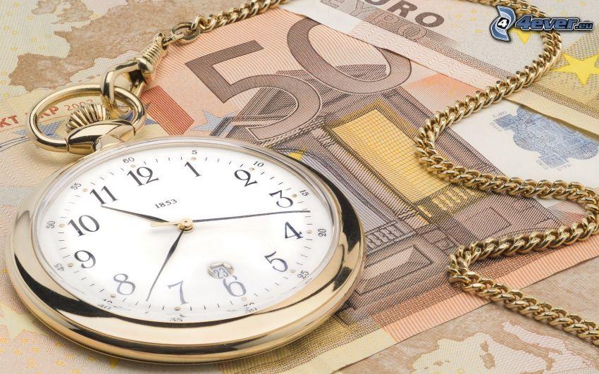 historische Uhr, 50 Euro, Geldscheine, Geld