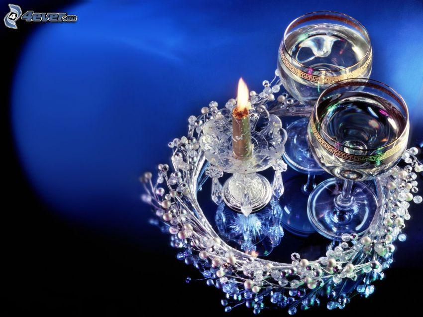 Kerze und Gläser, Dekoration