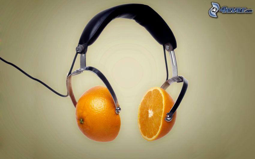 Kopfhörer, orangen