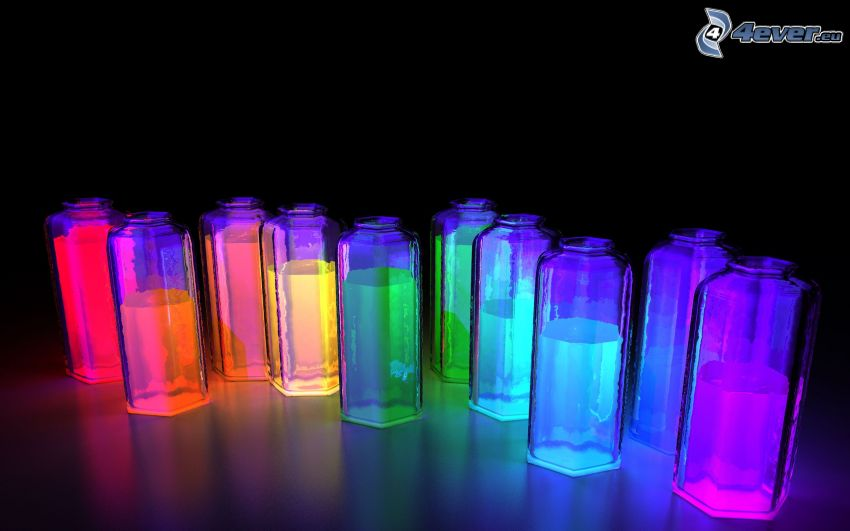 leuchtende Farben in den Behältern