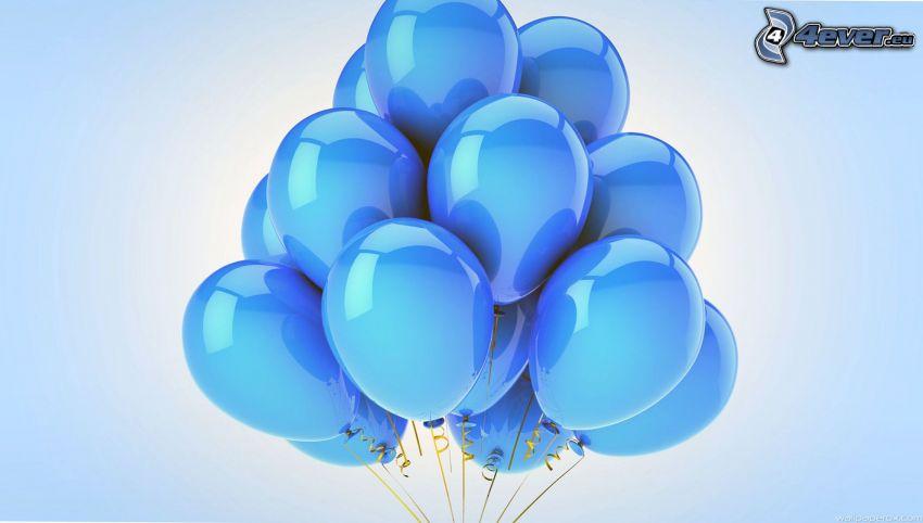 Luftballons, blauer Hintergrund