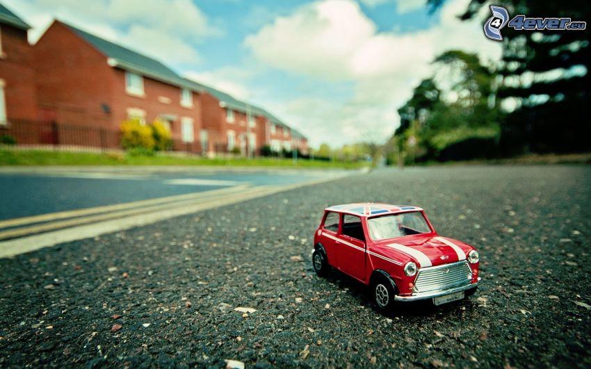 Mini Cooper, Spielzeug, Straße, reihe Häuser
