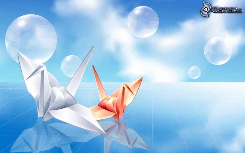 origami, Schwäne, Blasen, blauer Hintergrund