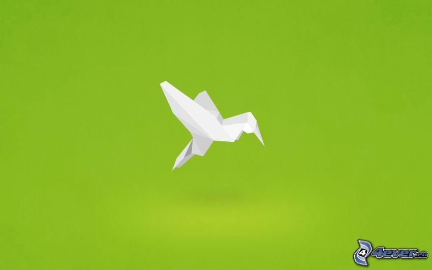 origami, Vögel, grüner Hintergrund