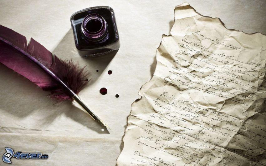 Papier, Feder, Tinte