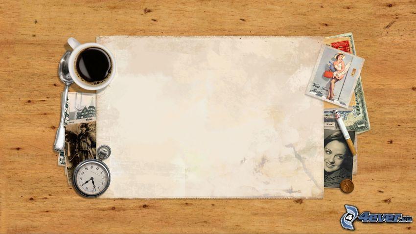 Papier, Kaffee, historische Uhr, Fotos, Zigarette