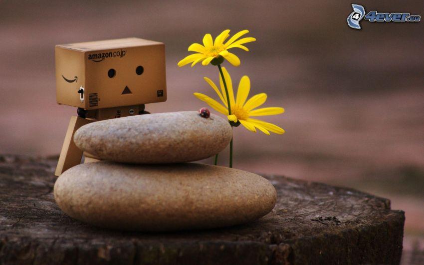 Papier-Robot, Blumen, Steine