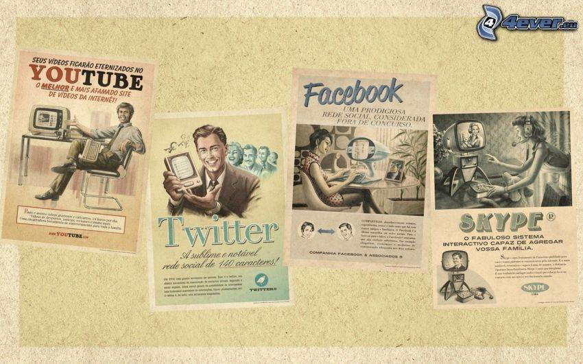 Plakat, Youtube, Twitter, facebook, Skype