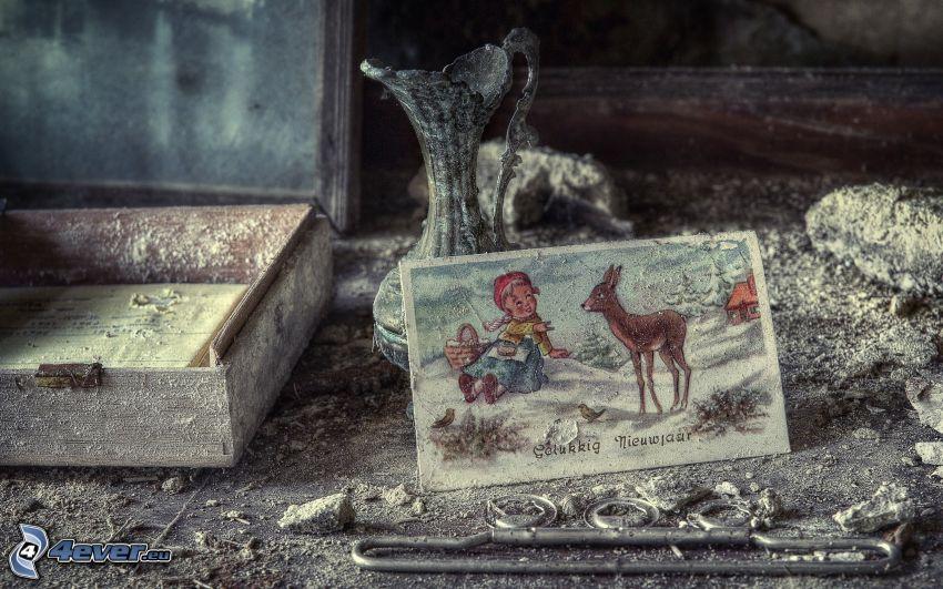 Postkarte, Vase, Schublade, Unordnung, HDR