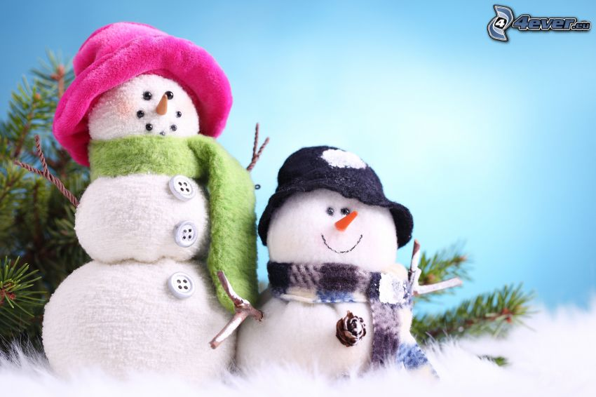 Schneemänner, Stoff, Hut, Schal, Knöpfe