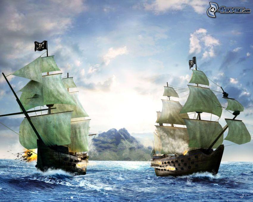 Segelboote, Meer, Wolken, Schlacht