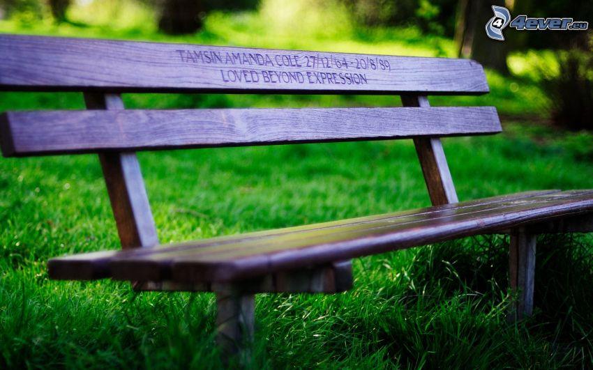 Sitzbank, grünes Gras