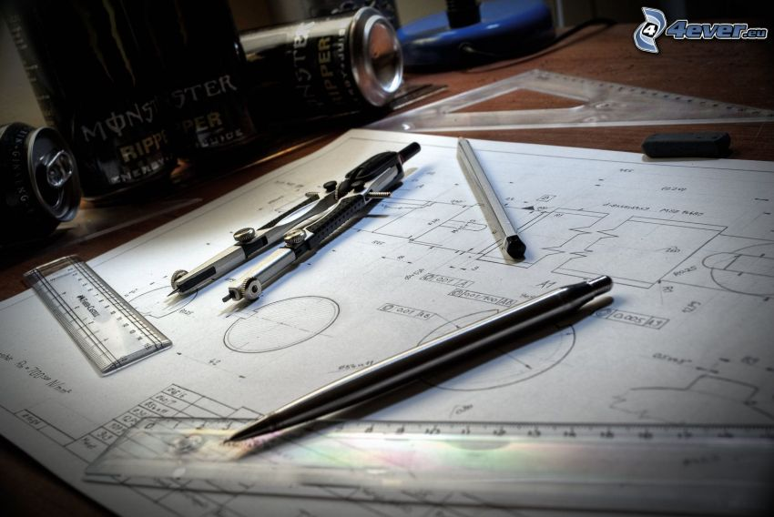 Skizzen, Zirkel, Lineal, Kugelschreiber, Monster