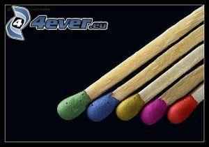 Streichhölzer, farbige