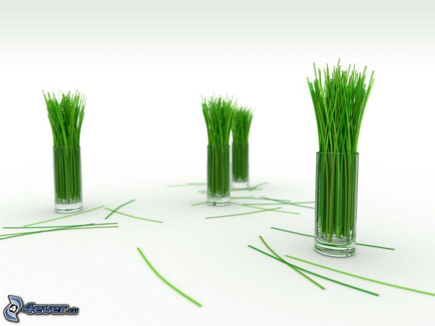 Strohhalme, Gras