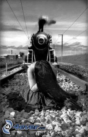 Suizid, Dampfzug, Mädchen auf den Schienen