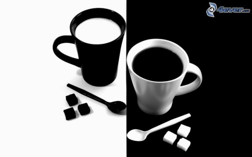 Tassen, schwarzweiß