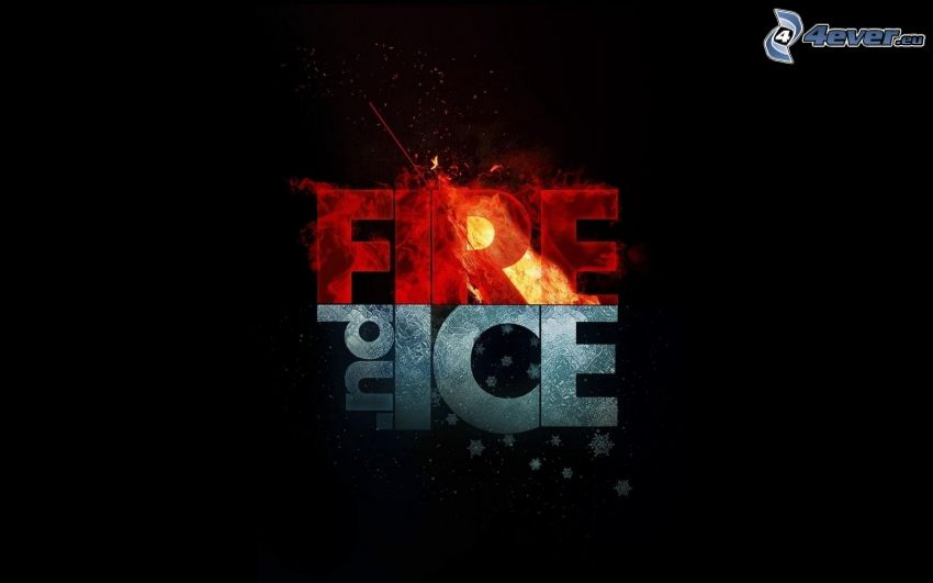 text, Feuer, Eis