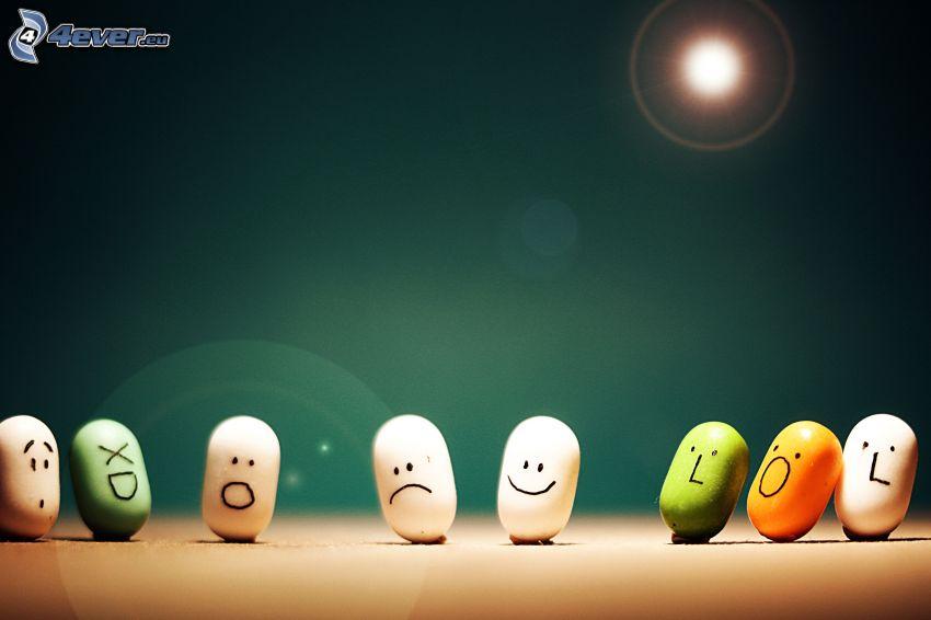 tic-tac, Sonne, smileys