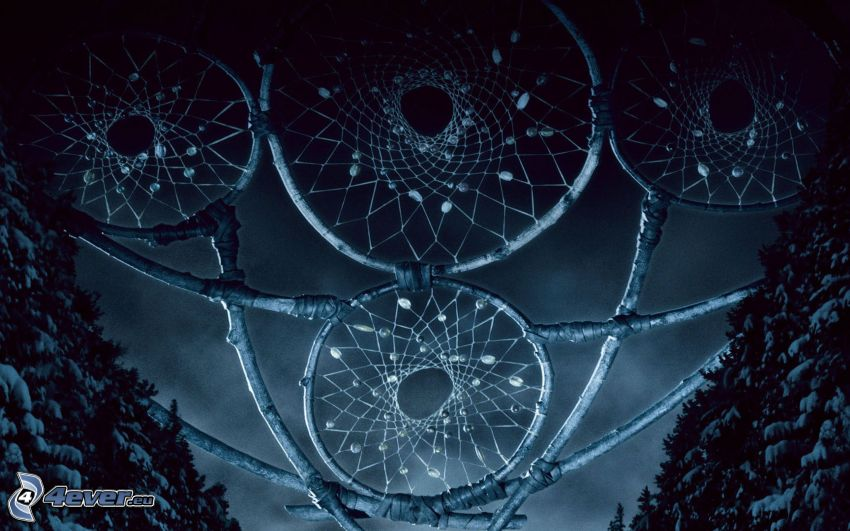 Traumfänger, verschneite Bäume, Nacht