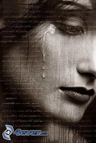 trauriges Mädchen, Frauenweinen, Tränen