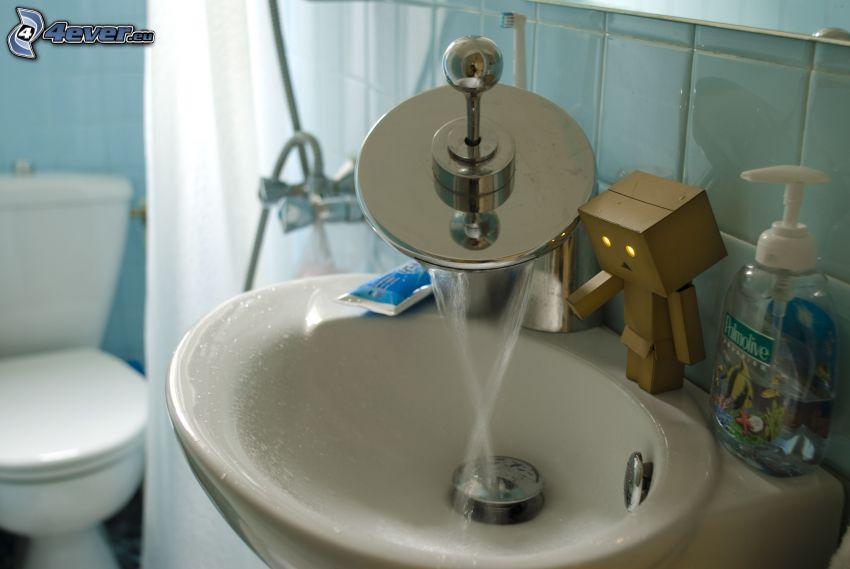 Waschbecken, Papier-Robot, Bad, Wasserhahn, WC