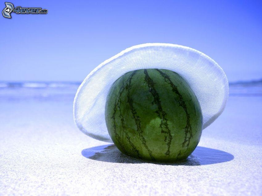 Wassermelon, Hut, Strand, Meer