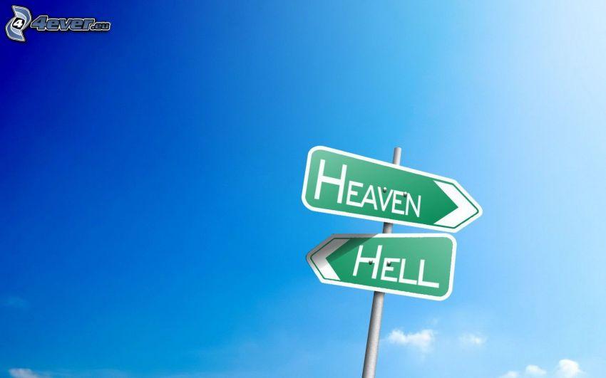 Wegweiser, Himmel, Hölle, blauer Himmel