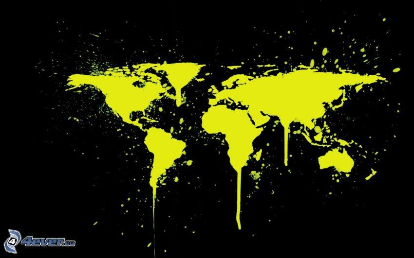 Weltkarte, gelbe Farbe