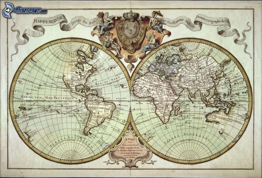 Weltkarte, historische Landkarte