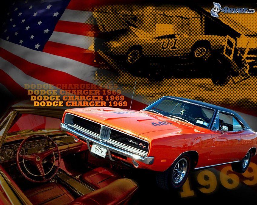 Dodge Charger, 1969, Oldtimer, Innenraum, amerikanische Flagge