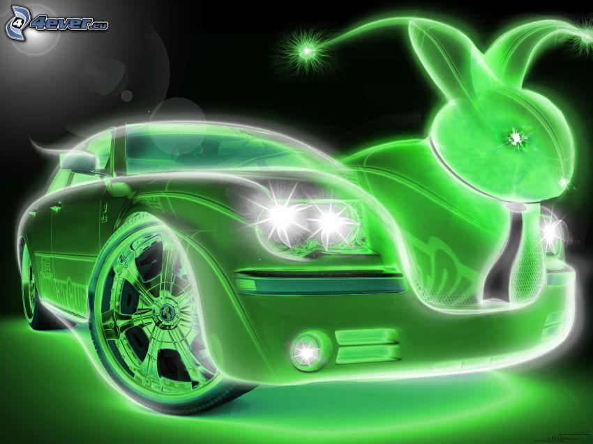 gezeichnetes Auto, Neon, gezeichnetes Kaninchen