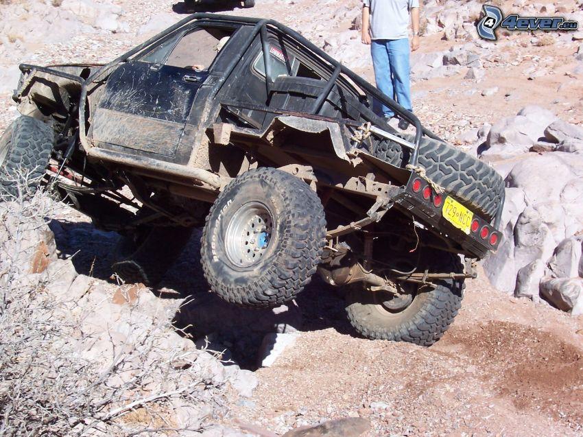 Jeep, Schlamm, Steine