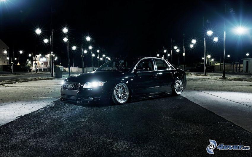 Audi A4, lowrider, Straßenlampen, Nacht