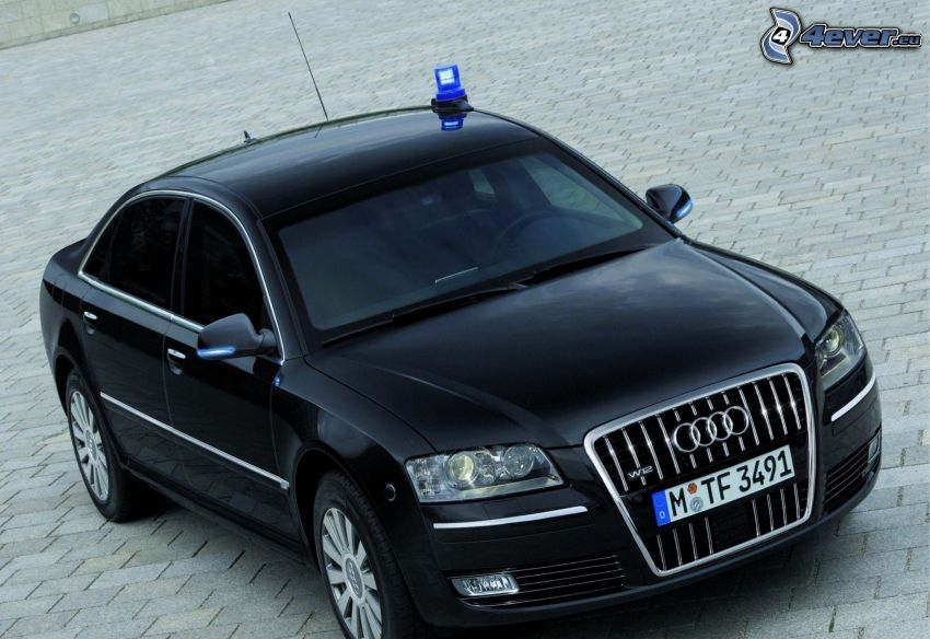 Audi A8 W12, Polizei, Bürgersteig