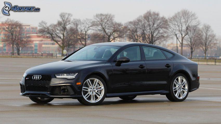 Audi RS7, trockene Bäume