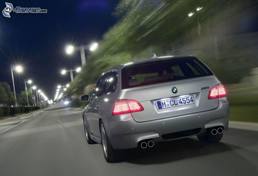 BMW M5, Geschwindigkeit, Abend, Straßenlampen