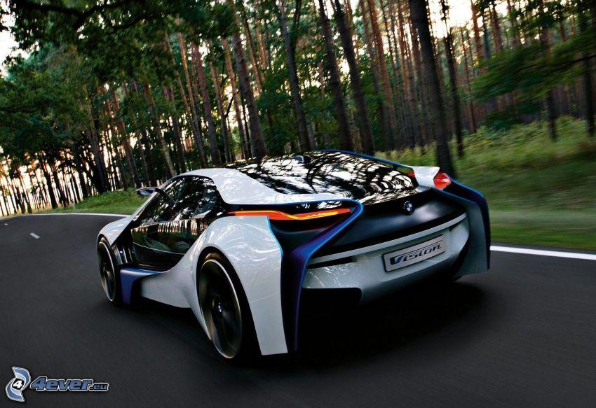 BMW Vision Efficient Dynamics, Konzept, Geschwindigkeit, Pfad durch den Wald