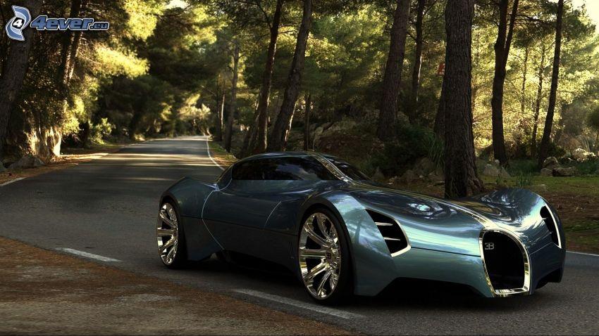 Bugatti Aerolithe Concept, Pfad durch den Wald