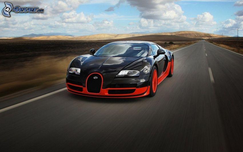 Bugatti Veyron, gerade Strasse, Geschwindigkeit