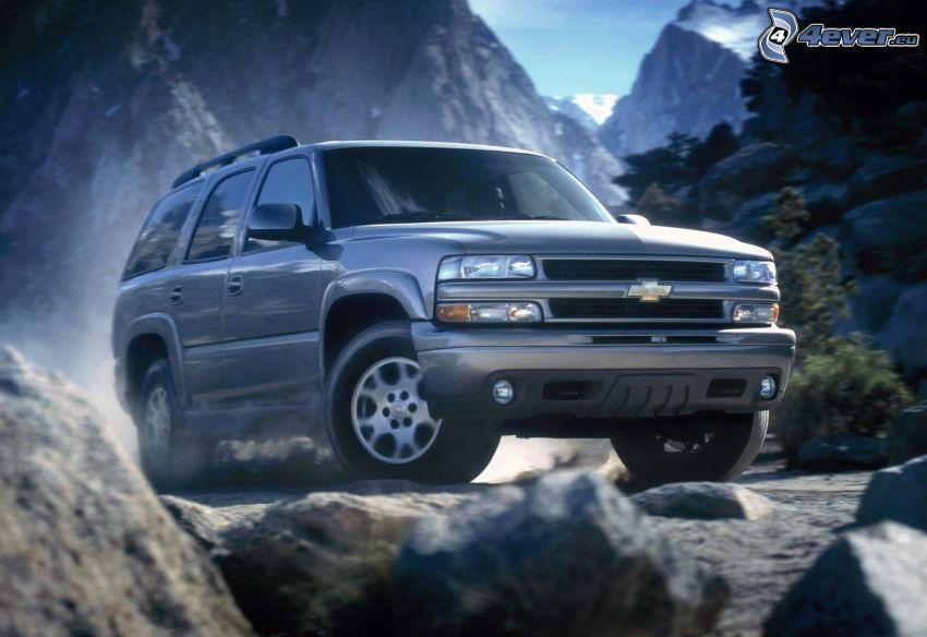 Chevrolet Tahoe, SUV, Felsen