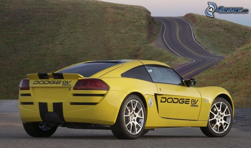Dodge Circuit EV, Sportwagen, Straße, Hügel