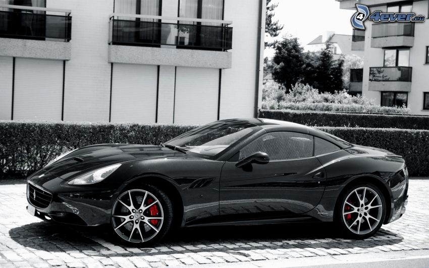 Ferrari California GT, Schwarzweiß Foto