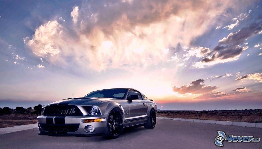 Ford Mustang, Himmel, Wolken, Sonnenuntergang