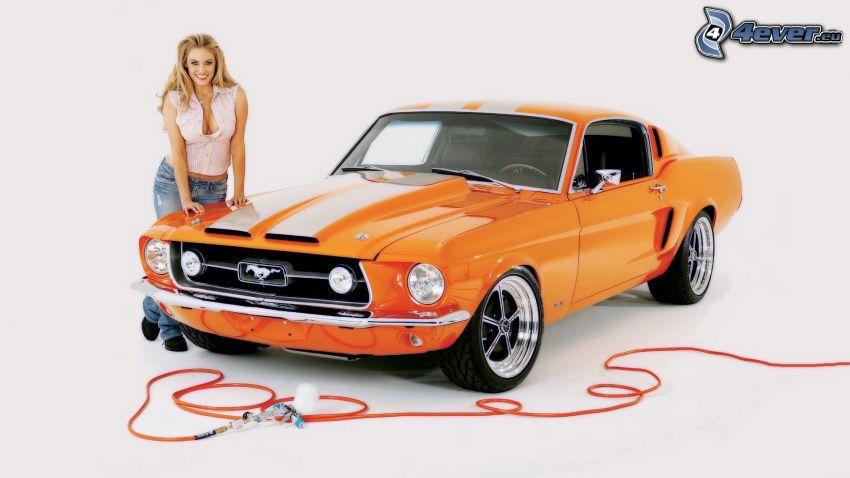 Ford Mustang, Oldtimer, Blondine