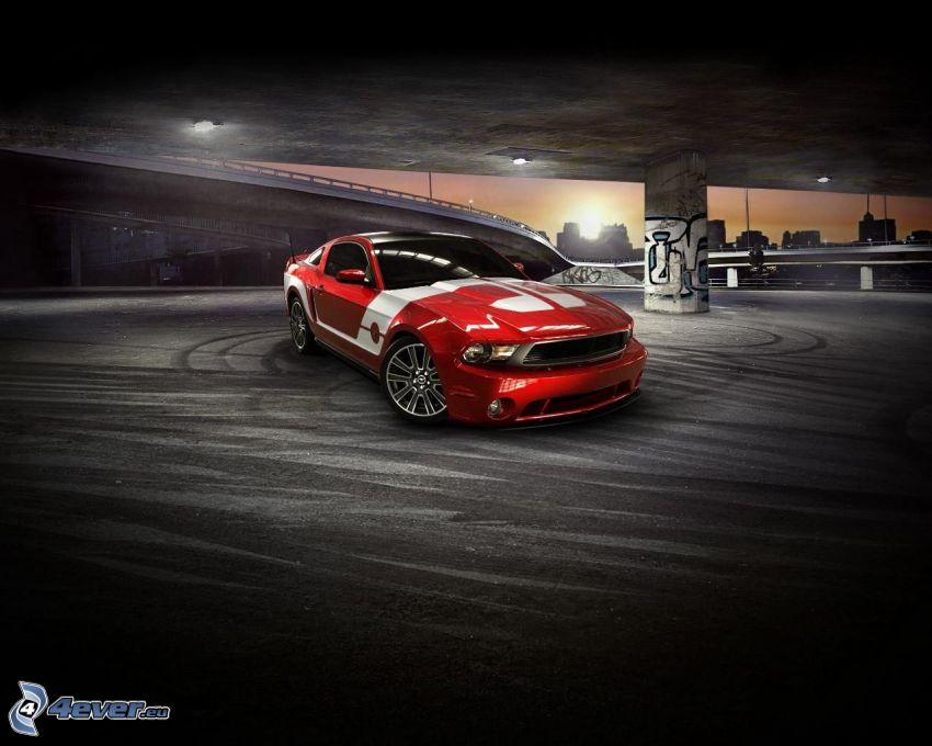 Ford Mustang, unter der Brücke