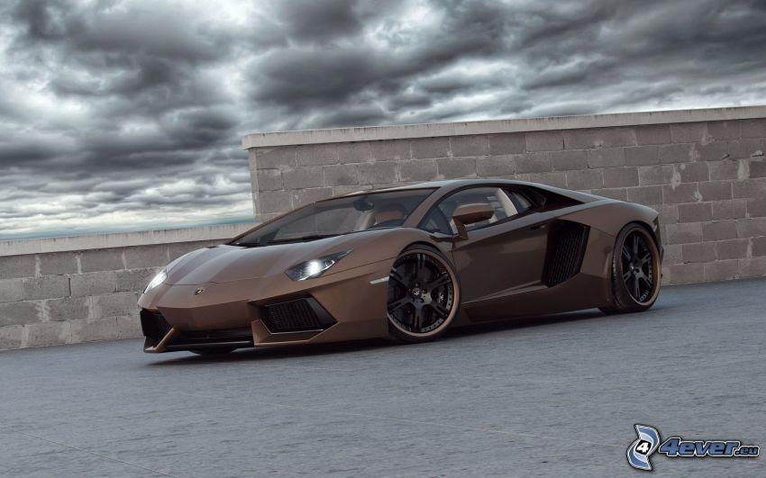 Lamborghini Aventador, Wolken, Mauer
